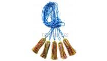 golden chrome tassel mix color stone bead necklaces