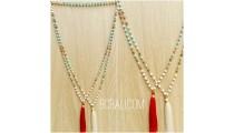 2color bali tassels necklaces beads stone rudraksha
