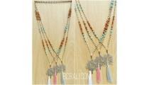 rudraksha tassels bead three colors pendant tree life bronze