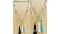 three color tassels necklaces bead wood rudraksha stone