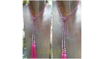 long strand necklaces tassels beads double mono color
