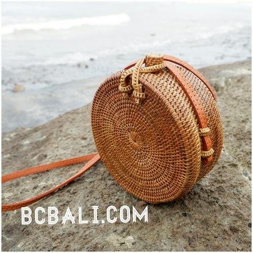 Bali Circle Bags Ata Grass Rattan Strap Handmade Ethnic Design