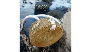 circle disc handbags rattan design full handmade limited edition leather handle