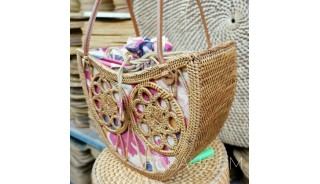 handmade fashion ata grass rattan handwoven balinese fan design