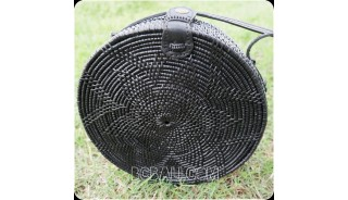 new black color ata rattan grass handwoven handbag circle design