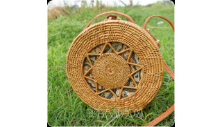 new circle design rattan ata hand woven batik lining handbag