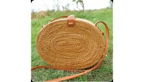 new oval design rattan handbag ata hand woven leather handle