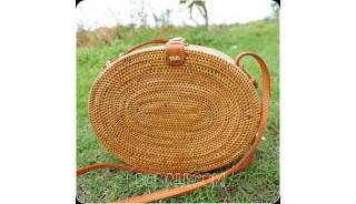 new oval design rattan handbag ata hand woven leather handle