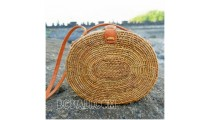 rattan ata handbags motif star oval design leather handle handmade