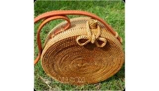 rattan hand woven ata handbag full handmade circle short handle leather