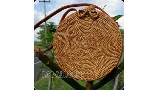 rattan hand woven ata handbag lining full handmade circle short handle
