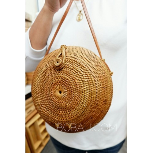 Round Circle Design Handmade Hand Woven Ata Grass Rattan Bali