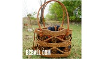balinese style handwoven ata grass woman tote bag with batik lining
