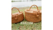 cosmetic circle design large bags ata grass handwoven bali style