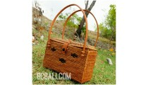 square handmade rattan grass natural tote bags purse motif flower strap