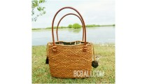 unique ethnic tote bag purse rattan grass handwoven leather handle