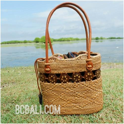 women tote bag straw rattan ata hand woven casual ethnic design ... 3e7356bc7de06