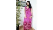 bali fashion batik rayon printing long dress pattern clothes design purple