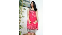 bali pattern batik stamp clothing dress fashion red color