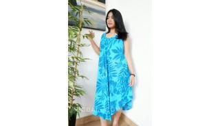 blue ocean hand printing rayon flower bamboo dress bali