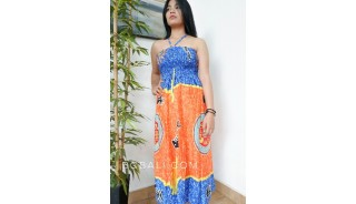 exotic hand patterned rayon painting long dress handmade bali