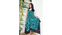 hand printing rayon long dress fashion clothing made bali