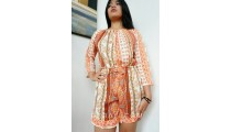 short dress bali clothing fashion fabric printing rayon orange