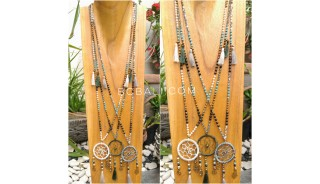 tassels necklace beads combination dream catcher pendant