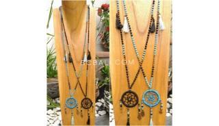 dream catcher pendant necklace bead strand tassels handmade