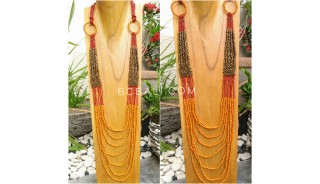 long strand seeds women necklaces wrapted golden strand