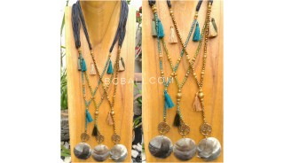 tassels necklace bead seeds pendant seashells handmade bali