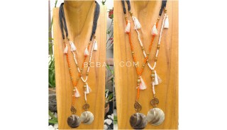 tassels necklace beads pendant seashells leather strings