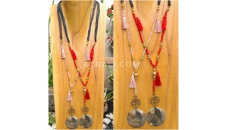 tassels necklace beads pendant seashells bali handmade