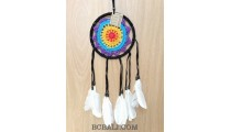 bali handmade crochet dream catcher colorful long leather feather tassels