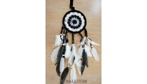 balinese crochet dream catcher long feathers leather suede
