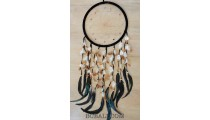big circle bali design dream catcher long multiple feathers with leather
