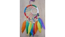 colorful dream catcher feather leather string double circle bali