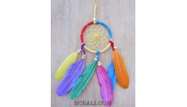 colourful dream catcher feather leather string handmade bali style