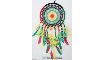 crochet dream catcher colorful rasta bali feathers design