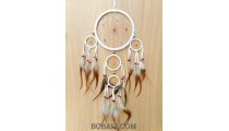 bali dream catcher 5circle long feather with coco stone beads