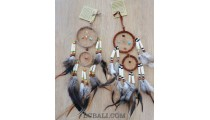 cow bone small dream catcher double circle feather bali handmade