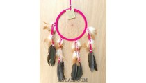 leather circle dream catcher feather handmade balinese artisan