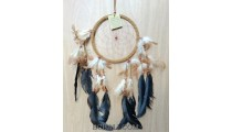 leather circle dream catcher feather handmade balinese artisan brown