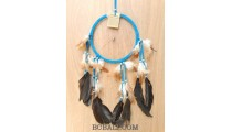 leather circle dream catcher feather handmade balinese artisan turquoise