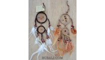 leather double circle small dream catcher feathers coco beads