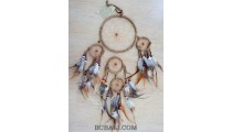 leather suede circle dream catcher bali feather brown color
