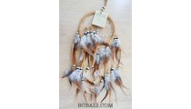 multiple feathers dream catcher with coco beads brown color