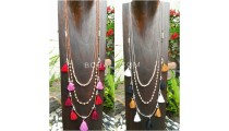 2color multiple tassels necklace bead fashion women design 2017