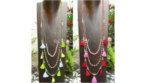 2color multiple tassels necklace fashion women new design 2017