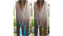 4color tassels necklace pendant rudraksha with agate bead stone bali